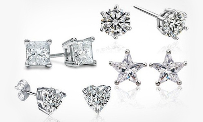Groupon Goods: Stud Earrings with Four Designs Made With Swarovski Elements for R299.99 (88% Off)
