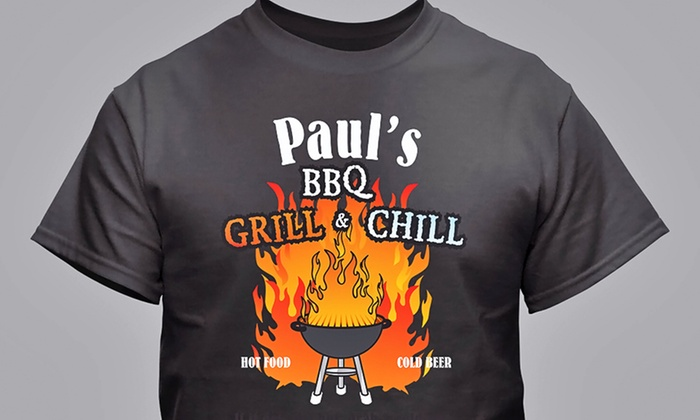 GiftsForYouNow.com: $14.99 for One Personalized BBQ Grilling T-Shirt from GiftsForYouNow.com ($19.98 Value)
