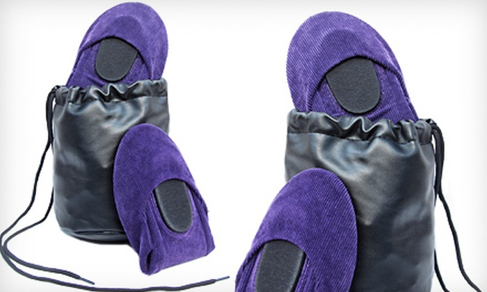 Purple Corduroy CitySlips Foldable Flats: $20 for Purple Corduroy CitySlips Foldable Flats in S–L with a Matching Carrying Pouch ($58 List Price). Free Shipping.
