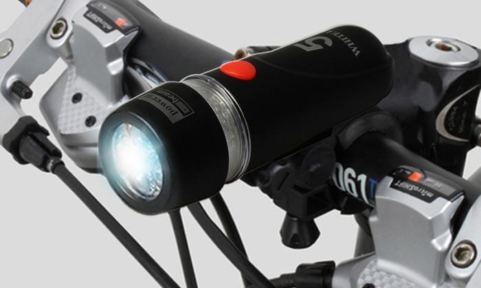 Ultra Bright Waterproof Bike Light Set with Headlight and Rear Light: Ultra Bright Waterproof Bike Headlight Set with 5 LED Bike Headlight and 9 LED Rear Flashlight