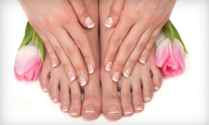 Take Tyme Full Service Salon - Woodhome Heights: Mani-Pedi with Option for 30-Minute Cleansing Facial at Take Tyme Full Service Salon in Parkville (Up to 57% Off)