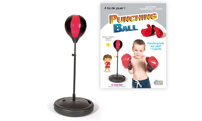 punching ball r glable avec gants de boxe groupon shopping. Black Bedroom Furniture Sets. Home Design Ideas