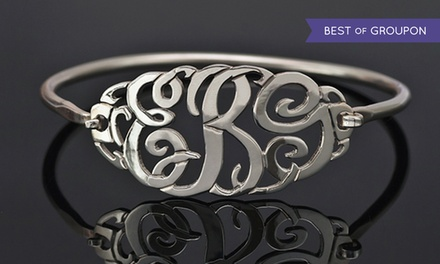 $10 for a Monogram Bangle with Clasp Plated in Sterling Silver from MonogramHub ($114.99 Value)