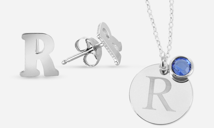 Monogram Online: Personalized Circle Necklace, Personalized Earrings, or Set of Both from Monogram Online (Up to 93% Off)
