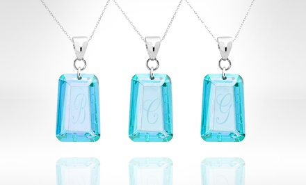 Initial Necklace with Aquamarine Swarovski Elements. Multiple Initials Available. Free Returns.