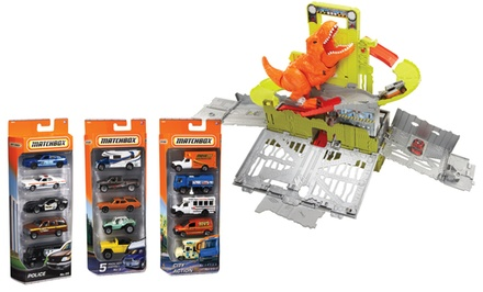 Matchbox Dino Breakout and 5-Car Assortment Bundle.