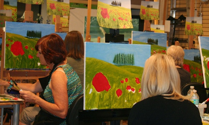 Let's Create Art - Lakewood: Painting Party with Catered Appetizers and Wine for One, Two, or Three at Let's Create Art (Up to 56% Off)