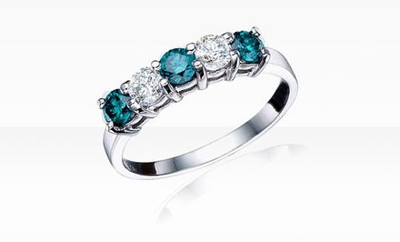 1 ct.tw. 5-Stone Blue and White Diamond Ring in 10K Gold.