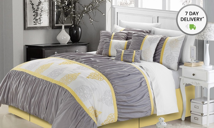 Overfilled and Oversized 8-Piece Embroidered Comforter Sets: Oversized 8-Piece Embroidered Comforter Sets. Multiple Sizes from $74.99–$79.99. Free Shipping and Returns.