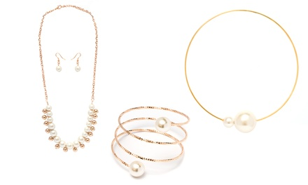 Gold or Silver with Pearl Accents Earrings Set, Choker, or Wrap Bangle from $16.99–$17.99