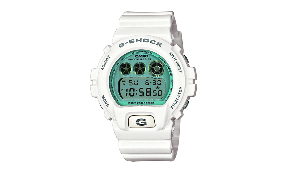 casio g shock watch groupon goods £39 99 for casio men s g shock alarm chronograph watch white band and blue dial dw 6900pl 7er 58% off
