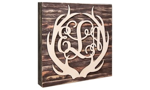 "aMonogram Art: 18""- or 24""-Inch Natural Wood Monogram Encircled by Antlers from aMonogram Art (50% Off)"