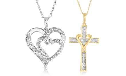 1/10 CTTW Diamond Heart or Cross Pendant