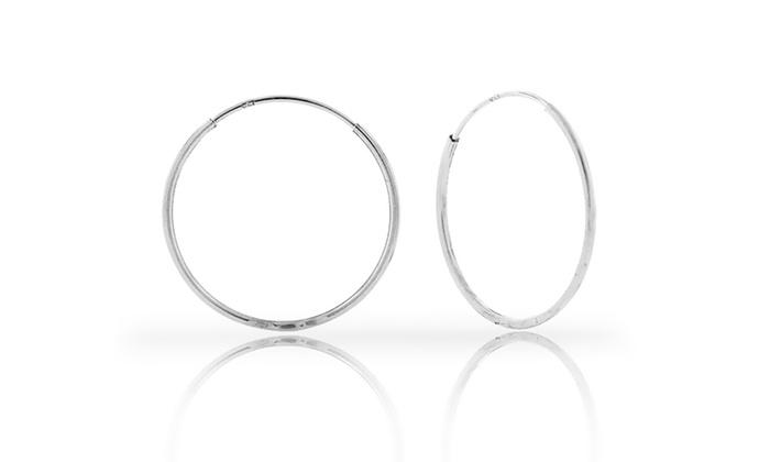 14k White Gold Hoop Earrings Groupon Goods