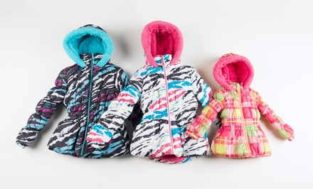 Big Chill Toddler to Big Girls Zebra and Plaid Puffer Jackets