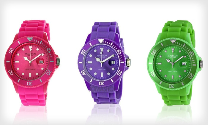 Madison Candy Time Unisex Watch: $28 for a Madison Candy Time Unisex Watch ($100 List Price). 19 Colors Available. Free Shipping and Free Returns.