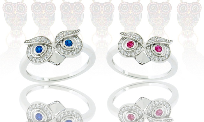 Sterling Silver Owl Rings with Simulated Gemstones: Sterling Silver Owl Ring with Simulated Rubies or Sapphires. Free Returns.