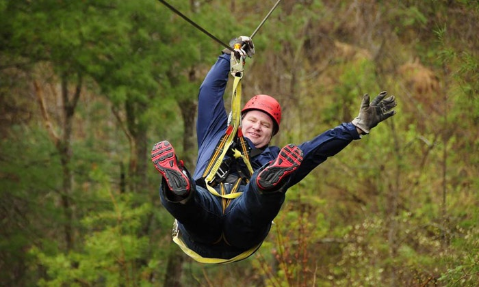 French Broad Rafting and Ziplines - Marshall: Zipline Canopy Tour for Two or Four from French Broad Rafting and Ziplines         (34% Off)