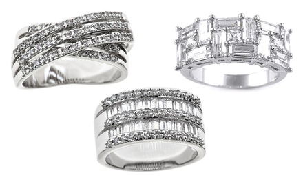Cubic Zirconia Rings in 18K White Gold Plating