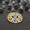 1/12 CTTW Diamond Accent Monogram Necklaces