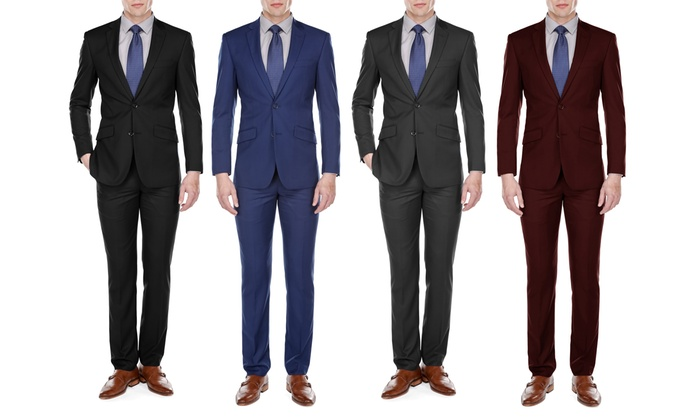 Uomo Men's European-Cut Slim-Fit Suit Set (2-Piece)