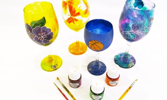 Art Classes by Jen and Mark - Culbreath Heights: BYOB Wineglass-Painting Class for One or Two at Art Classes by Jen and Mark (Up to 52% Off)