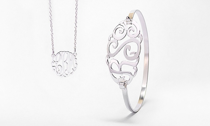 MonogramHub: Sterling-Silver-Plated Monogram Bangle, Monogram Necklace, or Both from MonogramHub (Up to 90% Off)