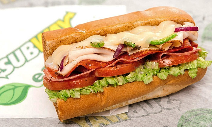 Subway - Multiple Locations: Sub Meal for Two, Five Footlongs, or Four Groupons, each Good for a Six-Inch Sub at Subway (Up to 40% Off)