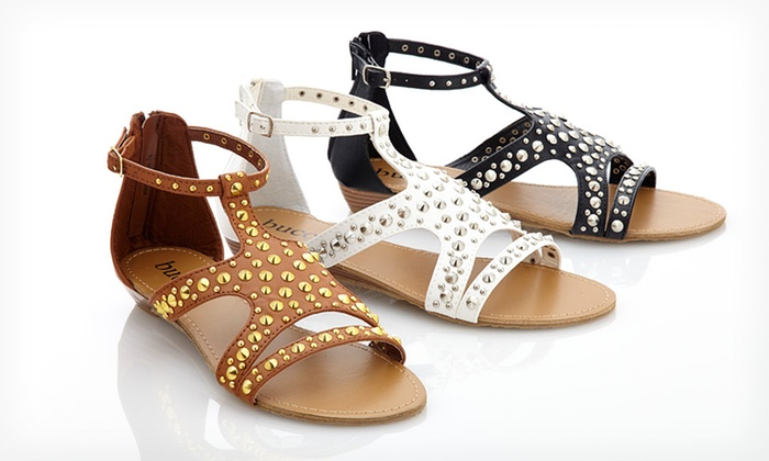 Bucco Studded Sandal: $29.99 for One Pair of Bucco Studded Sandals ($69.99 List Price). 3 Colours Available.