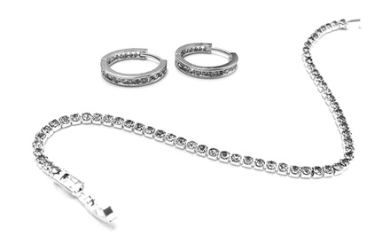 Tennis Bracelet and Hoop Earrings with Swarovski Elements