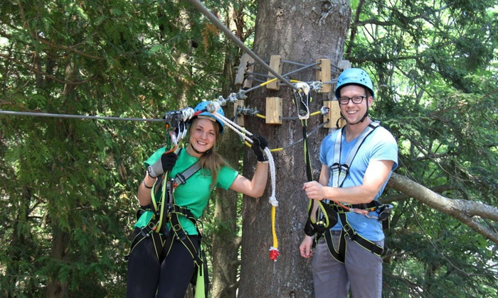 Muskoka Zip Lines & Aerial Park - Rural Severn: Aerial Course and Sportsland Tickets at Muskoka Zip Lines & Aerial Park (Up to 50% Off). Four Options Available.