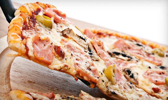 Famous Amadeus Pizza - Multiple Locations: Two Appetizers, Large Pizza, and Soda or Sunday Football Package, Available for Dine-In, Delivery, or Takeout at Famous Amadeus Pizza (Up to 57% Off)