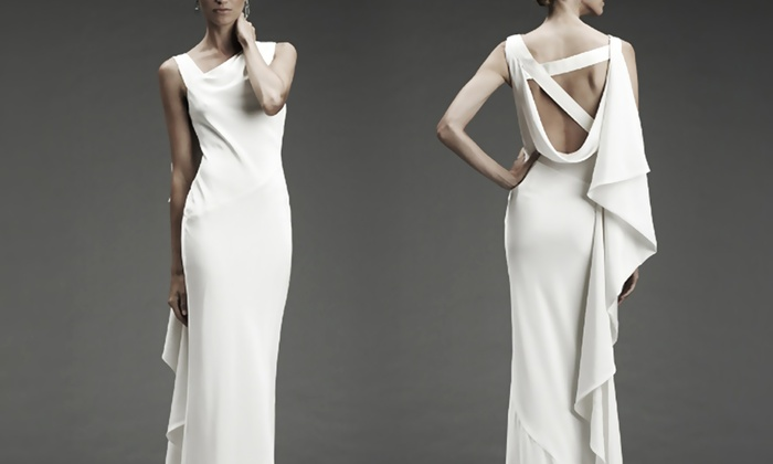 Ivory Crepe Open Back Wedding Dress And Handmade: Nicole Miller Bridal Gowns