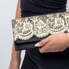 Little Black Clutch with Gold Lace