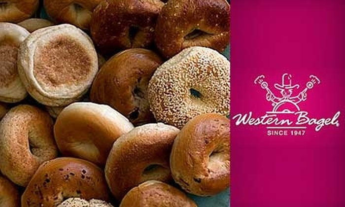 Western Bagel - Multiple Locations: $7 for a Dozen Bagels and Large Cream Cheese at Western Bagel ($14.20 Value)
