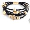 Leather Flower Bracelet with Swarovski Elements Crystals