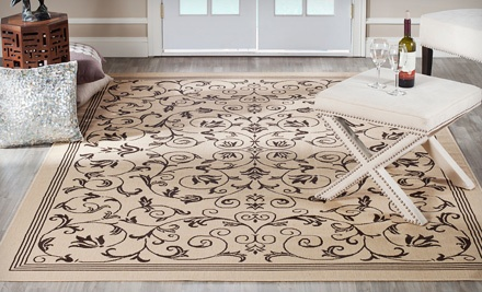 Two Safavieh Courtyard Collection Indoor/Outdoor Rugs: Persian Garden in Sandy Beige/Natural - Two Safavieh Indoor/Outdoor Rugs in