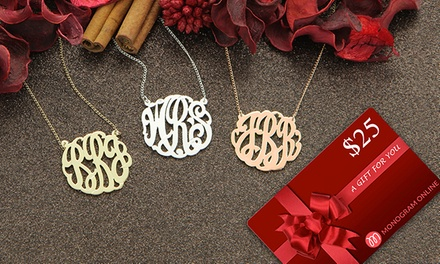 Monogram Necklace With a $25 Gift Card from Monogram Online (Up to 73% Off). Three Options Available.