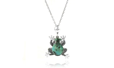Genuine Turquoise and Marcasite Frog Pendant in Sterling Silver