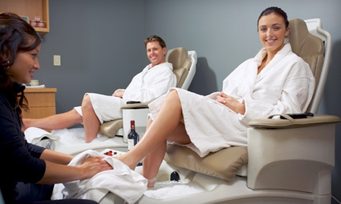 Perfect Getaway Day Spa - Warehouse District: Mani-Pedi Package for One or Two or Spa Package at Perfect Getaway Day Spa (Up to 57% Off) Plus Complimentary Glass of Wine