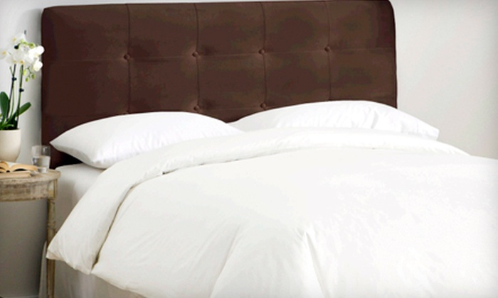 Velvet Tufted Headboard: Skyline Furniture Button-Tufted Webster Headboard in Chocolate Velvet (Up to 40% Off). Full/Queen or King Available.