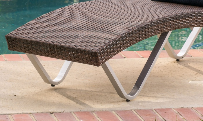 Outdoor wicker lounge chair groupon goods for Ashley san marco chaise