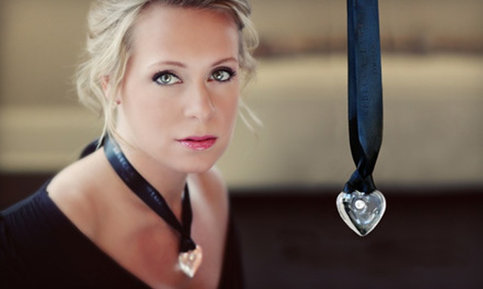 Rebecca Lawlor Limited: $30 for Large Glass Heart Pendant with Signature Black or Blue Ribbon from Rebecca Lawlor Limited ($59.99 Value)