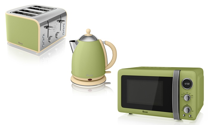 Swan 3 piece retro kitchen set groupon goods for Kitchen set kettle toaster microwave