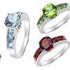 Genuine-Gemstone Rings in Sterling Silver