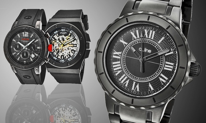 Black on Black Ion-Plated Men's and Women's Watches: Men's and Women's Black Watches (Up to 93% Off). Seventeen Options Available. Free Shipping and Free Returns.