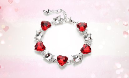 One, Two, Or Three Red Heart Gem <strong>Tennis</strong> Bracelets from Novadab (Up to 77% Off)