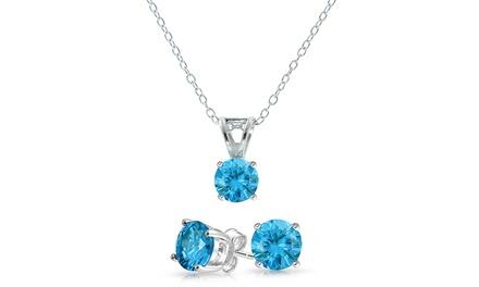 4.00 CTTW Genuine Blue Topaz Pendant and Earring Set