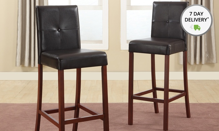 Two Tufted Modern Bar Stools: Two Tufted Modern Bar Stools. Multiple Colors. Free Returns.
