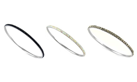 Thin Stainless Steel Bangles with Swarovski Elements Crystals